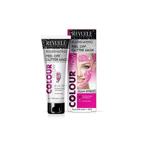 Revuele Colour Glow Fiatalító, Lehúzható Pink Glitter Maszk 80 ml